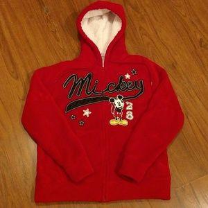 Disney Mickey Mouse Jacket Hoodie Medium Red